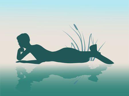 Illustrations of silhouette of lying beautiful mermaid.
