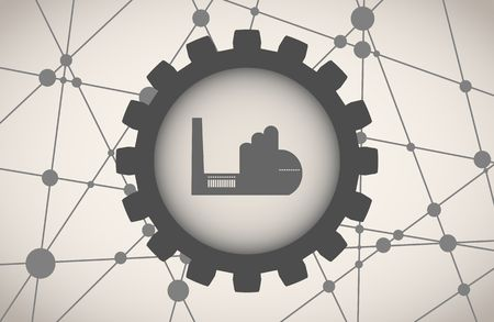 gearwheels: Molecule And Communication Background. Brochure or web banner design template. Connected lines with dots. Technology, industry and science background. Factory building icon in gear. Illustration