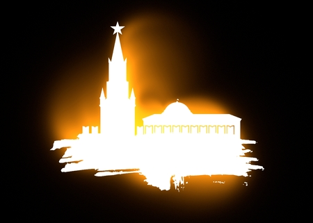 spasskaya: Spasskaya Tower of Kremlin and part of the wall in Moscow. Grunge brush. 3D rendering. Russian capital famous place silhouette. Neon illumination