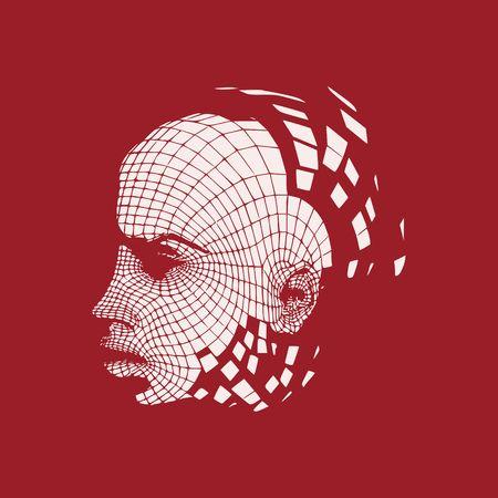 Kopf der Person aus einem 3D-Grid. Drahtmodell des menschlichen Kopfes. 3D geometrisches Gesichtsdesign. Polygonale Abdeckhaut. Standard-Bild - 80787919