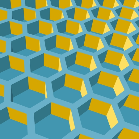 lattice frame: Perspective view on honeycomb. Hexagon pattern background. Isometric geometry Illustration
