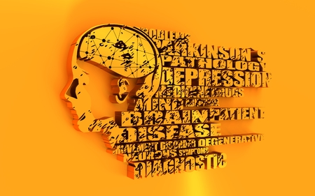 latent: Abstract illustration of a human head with brain. Woman face silhouette. Medical theme creative concept. Parkinsons syndrome disease tags cloud. 3D rendering. Golden metallic material