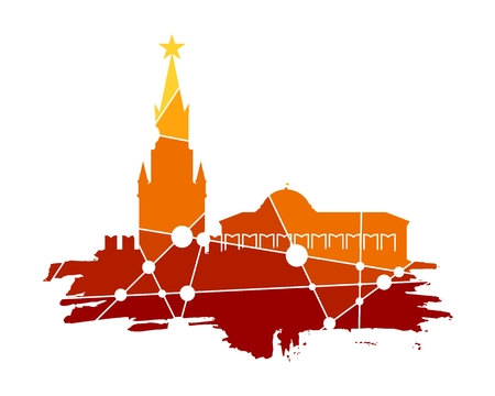 red square moscow: Spasskaya Tower of Kremlin and part of the wall in Moscow. Grunge brush. Molecule And Communication. Connected lines with dots.