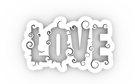 inspiring: Lettering illustration with Love word. Typography poster with abstract ornament of curls. 3D rendering