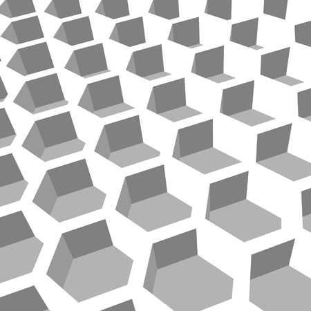 grille: Perspective view on honeycomb. Hexagon pattern background. Isometric geometry Illustration