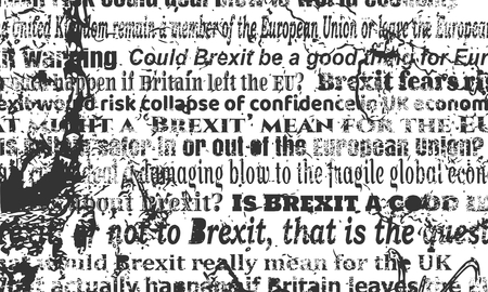 european culture: United Kingdom exit from Europe relative news headlines. Brexit named politic process. Grunge texture effect Illustration