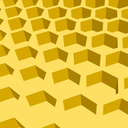 Perspective view on honeycomb. Hexagon pattern background. Isometric geometry Illustration