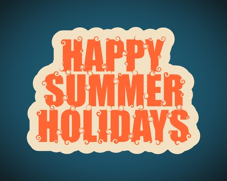 inspiring: Vector lettering illustration with text happy summer holidays. Typography poster with abstract ornament of curls.
