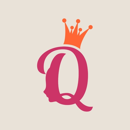 Vintage queen silhouette. Medieval queen profile. Fashion branding royal emblem with Q letter Illustration