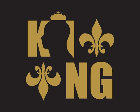 authoritative: King logo. Royal luxury emblem. Face and crown icon. Business fantasy golden badge with King word Illustration