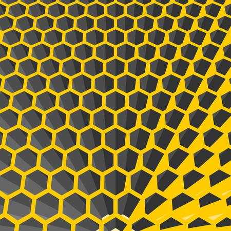 grid: Perspective view on honeycomb. Hexagon pattern background. Isometric geometry Illustration