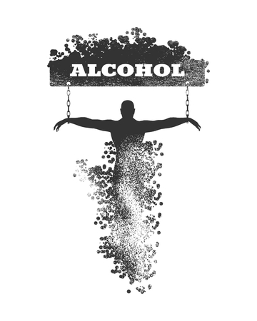 Man chained to alcohol word. Unhealth addiction metaphor. Vector illustration. Illustration