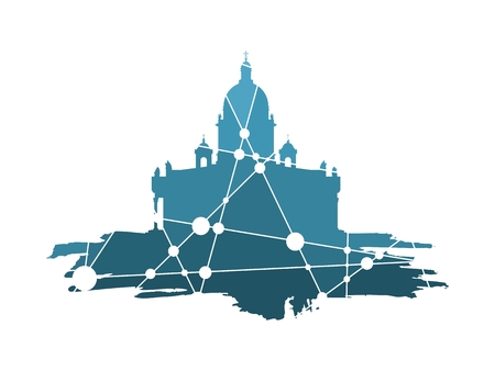 Silhouette of the Saint Isaacs Cathedral in Saint Petersburg Russia. Modern minimalist icon on grunge brush. Connected lines with dots. Illustration