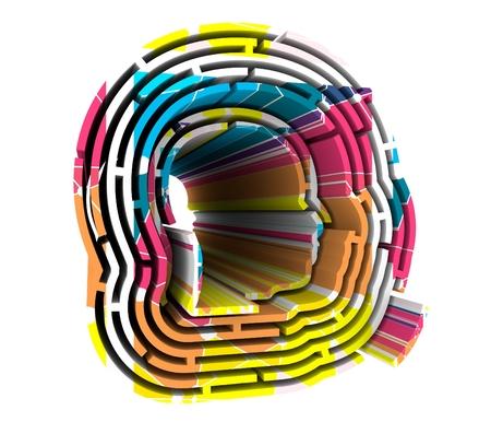 Vue de profil avatar homme. Silhouette de visage masculin au centre du labyrinthe circulaire. Rendu 3D Banque d'images - 81298643