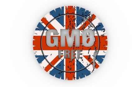 Distressed stamp icon. Graphic design elements. 3D rendering. GMO free text. Flag of the Great Britain