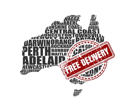 Map of Australia made from cities list. Vector illustration. Free delivery stamp
