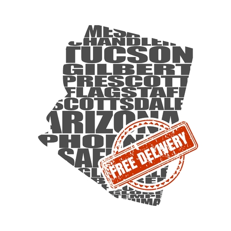 Word cloud map of Arizona state. Cities list collage. Free delivery stamp