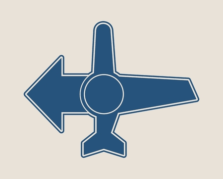Vector emblem design template for airlines, airplane tickets, travel agencies. Airplane icon and destination arrow Illustration