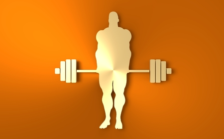 Bodybuilder and barbell silhouettes. Icon of the posing athlete. 3D rendering