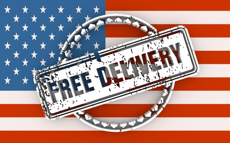 Distressed stamp icon. Graphic design elements. 3D rendering. Free delivery text. Flag of the USA Stock Photo