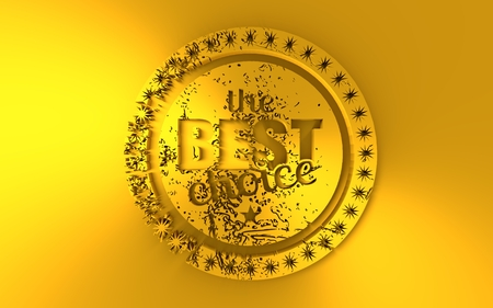 Stamp icon. Graphic design elements. 3D rendering. The best choice text. Golden metallic material