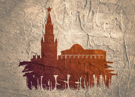 Spasskaya Tower of Kremlin and part of the wall in Moscow. Grunge brush. City name. Grunge distress texture. Reklamní fotografie