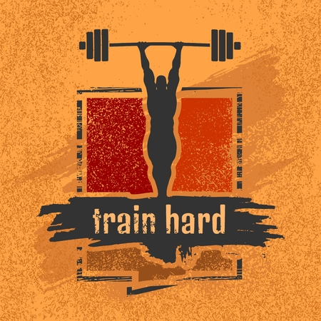 sayings: Bodybuilder and huge barbell silhouettes. Icon of the posing athlete. Train Hard. Gym and fitness motivation quote. Creative vector typography poster concept. Grunge texture