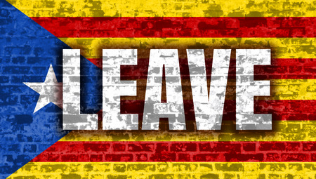 Catalonia flag. Grunge distress texture. Leave word