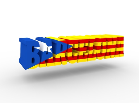 catalonia: Barcelona city name textured by flag of the Catalonia flag. 3D rendering