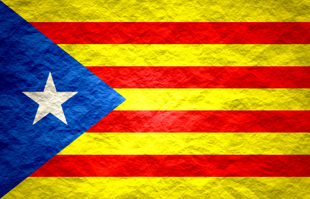 catalonia: Catalonia flag. Grunge distress texture. Old paper Stock Photo