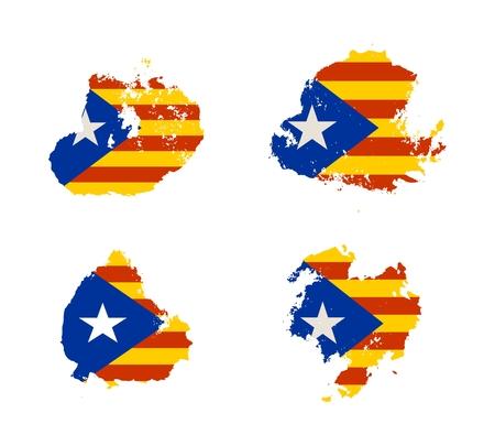barcelona: Grunge brush stroke textured by Catalonia flag.