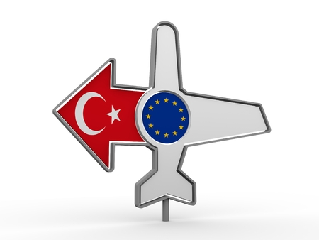 Emblem design for airlines, airplane tickets, travel agencies. Airplane icon and destination arrow. Flags of the European Union and Turkey. 3D rendering Stock Photo