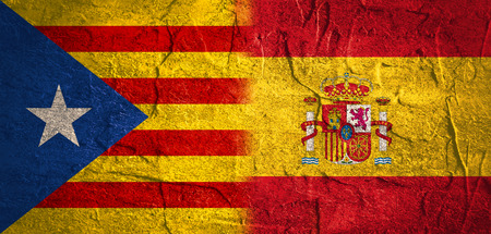 Image relative to politic situation between Spain and Catalonia. Catalonia vote for leaving from the Spain state. Democracy political process with referendum. National flags. Stock Photo