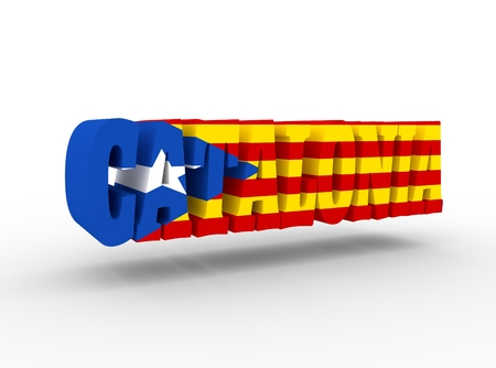 parliament: Catalonia word textured by flag of the Catalonia flag. 3D rendering