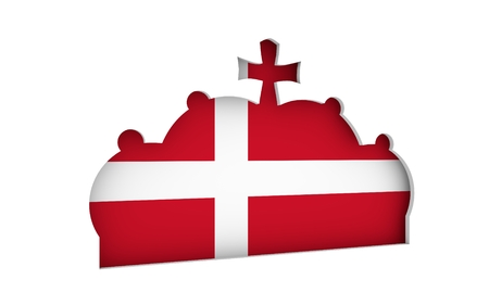prince of denmark: Stylized illustration of the imperial state crown. Flag of the Denmark. 3D rendering