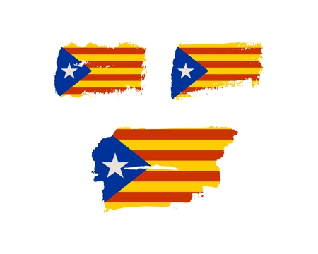 parliament: Grunge brush stroke textured by Catalonia flag.