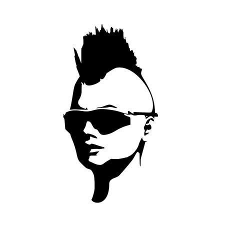 Face half turn view. Elegant silhouette of a female head. Vector Illustration. Mohawk hair style. Monochrome gamma. Illustration