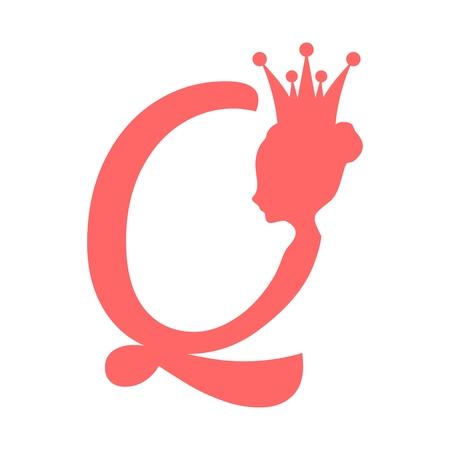 Silhouette de reine vintage. Profil de la reine médiévale. Silhouette élégante d'une tête de femme. Illustration vectorielle Coiffure Bun. Gamma monochrome. Emblème royal avec lettre Q