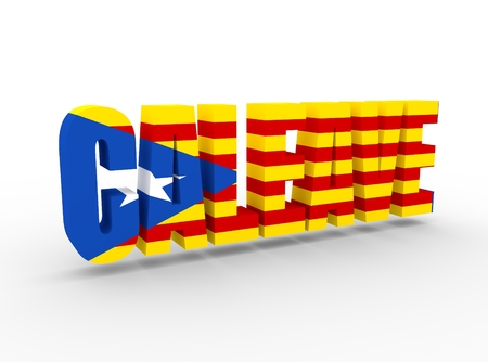 Caleave non existent word made from Catalonia and leave. Word of modern coinagetextured by flag of the Catalonia flag. 3D rendering Stock Photo