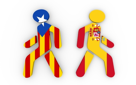 referendum: Two pedestrians textured by flags of Spain and Catalonia. Catalonia vote for leaving from the Spain state. Democracy political process with referendum. 3D rendering