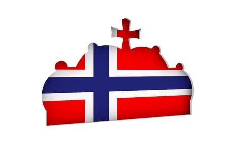Stylized illustration of the imperial state crown. Flag of the Norway. 3D rendering