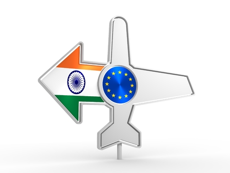 navigator: Emblem design for airlines, airplane tickets, travel agencies. Airplane icon and destination arrow. Flags of the European Union and India. 3D rendering