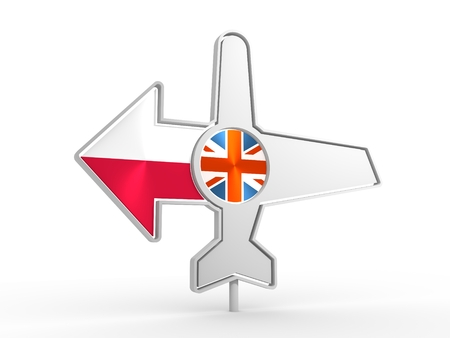 Emblem design for airlines, airplane tickets, travel agencies. Airplane icon and destination arrow. Flags of the Great Britain and Poland. 3D rendering