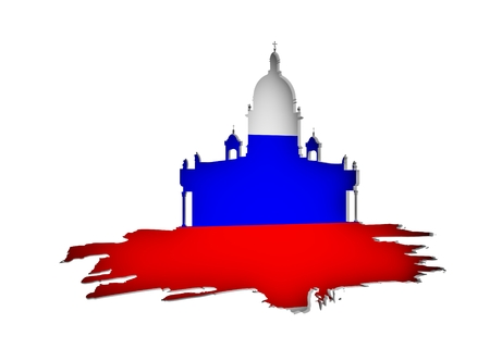 Silhouette of the Saint Isaacs Cathedral in Saint Petersburg Russia. Modern minimalist icon on grunge brush. Flag of the Russia. 3D rendering