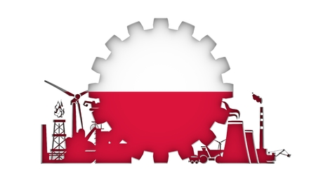 bandera de polonia: Energy and Power icons set with flag of the Poland. Sustainable energy generation and heavy industry. 3D rendering.