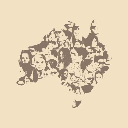 Australian map made from human portraits. Vector illustration