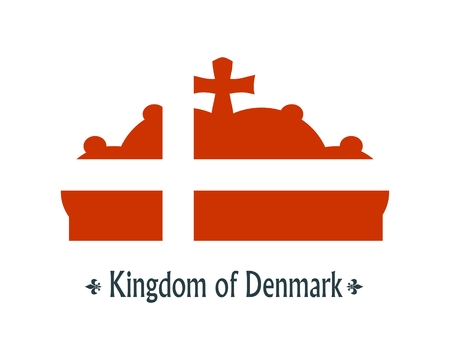 Stylized illustration of the imperial state crown. Flag of the Denmark. Kingdom of Denmark text