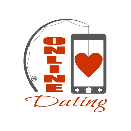Online dating app concept with fishing rod and heart. Vector illustration Illustration