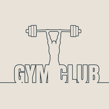 Bodybuilder and barbell outline silhouettes. Icon of the posing athlete. Gym club text