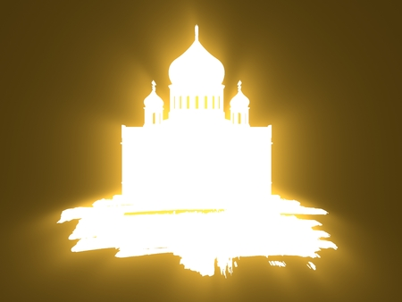 Cathedral of Christ the Savior in Moscow. Simple silhouette on grunge brush. 3D rendering. Neon bulb illumination Stock Photo